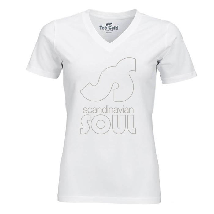 v-neck t-shirt white with logo
