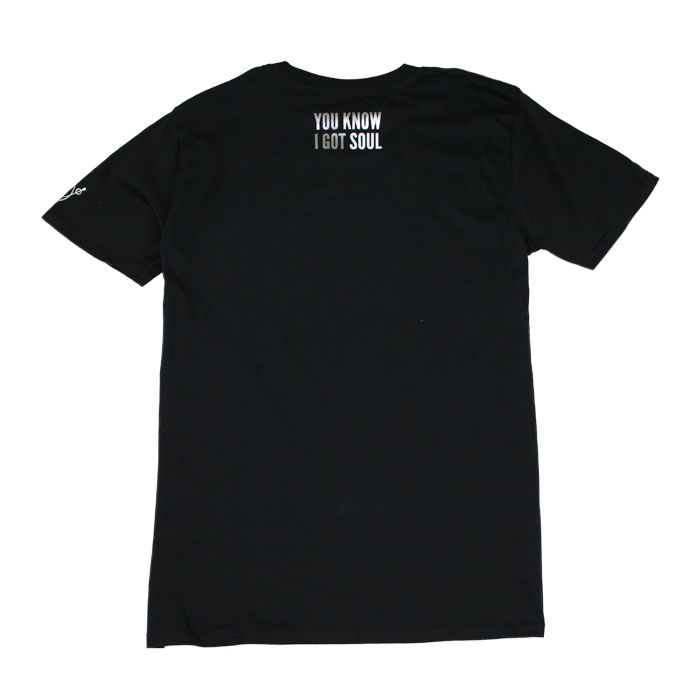 Back of black t-shirt small text