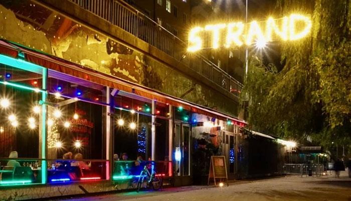 Neon glow Sweden side street