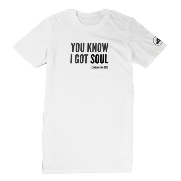 WHite t-shirt with text