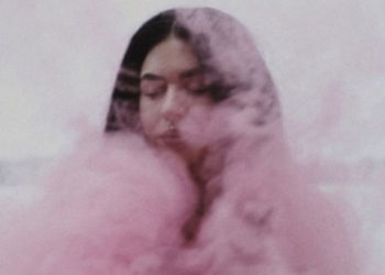 Woman in pink smoke