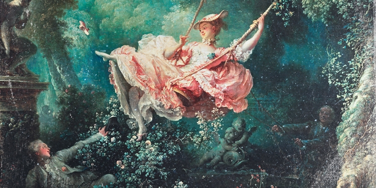 Girl swinging in old painting
