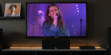 Girl singing on TV home
