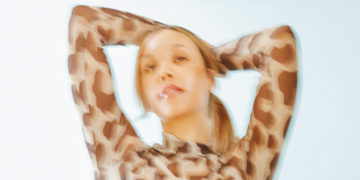 Blurrry girl in leopard pattern