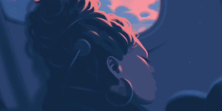 Illustration of woman relaxing on airplane