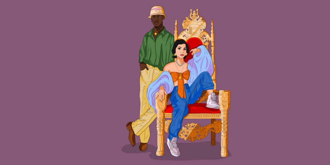 Illustration on couple by throne