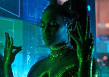black woman in glitter