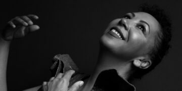 Black and white image of singer