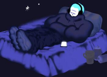 Illustration of man on bed