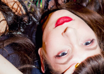 Attractive woman upside down