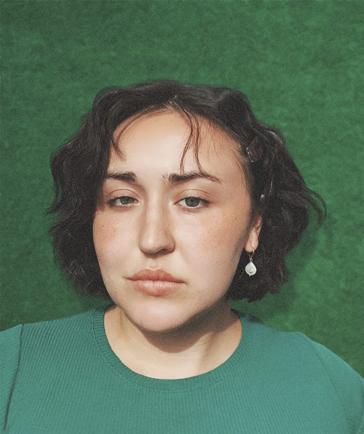 Woman with green background